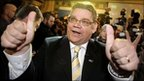 True Finns leader Timo Soini celebrates with supporters at the party's reception in Helsinki, Finland, 17 April 2011