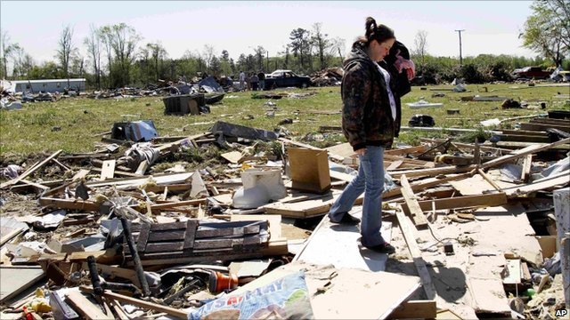 Devastated homes in North Carolina