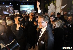 Jyrki Katainen celebrates his party's success in Helsinki, 17 April