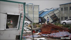 Damage after a hailstorm, in Guangzhou, Guangdong province April 17, 2011