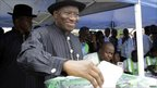Nigerian incumbent President Goodluck Jonathan votes in his home village of Otuoke, Bayelsa state, Nigeria, April 16, 2011