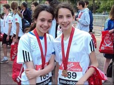 Young runners Juliette and Rachel after their race