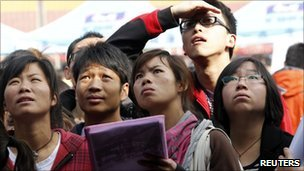 Chinese graduates at a job fair in Kunming on 10 March 2011