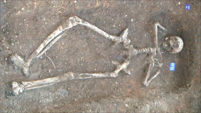 Tribal warrier's skeleton in Colchester