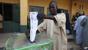 A man cast his vote during the presidential elections in Mashi, Nigeria, Saturday, April 16