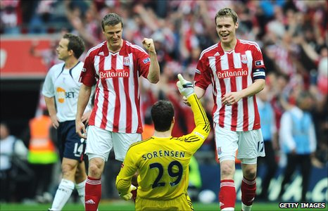 Stoke City players celebrate their FA Cup semi-final victory over Bolton