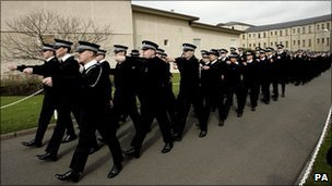 New recruits at a passing out parade at Tulliallan police college