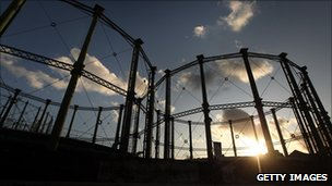 Gasometer at sunset