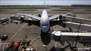 Plane arrives at Terminal 3 at Heathrow Airport in west London