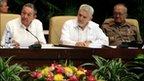 Cuban President Raul Castro, left, and Cuba's Revolution commander Ramiro Valdes