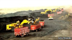 Trucks carrying coal