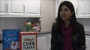 Kelloggs' nutritionist Rimi Obra-Ratwatte with old cereal packets