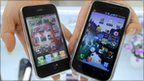 Apple's iPhone 3G (left) and Samsung Electronics' Galaxy S mobile phone (right)