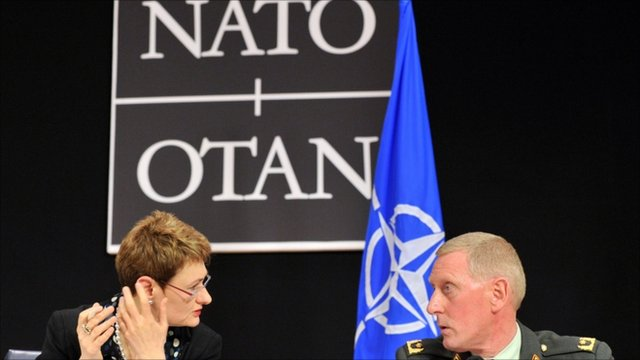 Nato spokesperson Oana Lungescu and Brigadier General Mark van Uhm