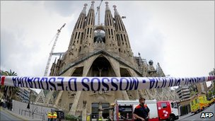 Sagrada Familia following suspected arson attack