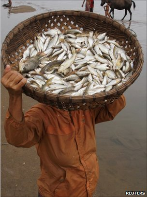 A man carries a fish basket on the Mekong River bank in Laos