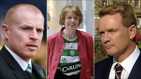 Neil Lennon (L), Trish Godman and Paul McBride QC