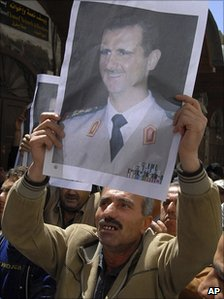 Pro-Assad protester in Damascus. 14 April 2011