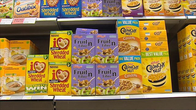 Boxes of breakfast cereal