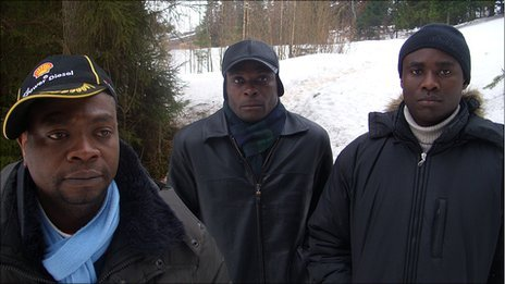 (Left to right) Fofana Baleymory, Benjamin N'Guessan and Frederic Karangwa - African asylum seekers in Russia
