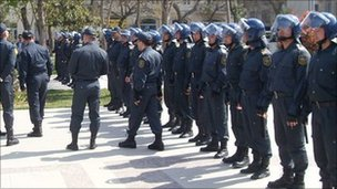 Riot police in Baku