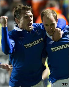 Nikica Jelavic and Steven Whittaker celebrate for Rangers