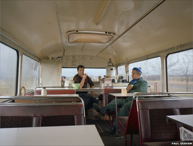 Bus Converted to Café, Lay-by, West Yorkshire, November 1982, Vintage colour coupler print