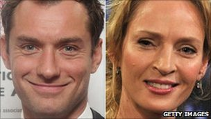 Jude Law and Uma Thurman