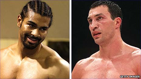 David Haye (left) and Wladimir Klitschko