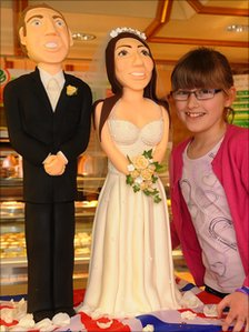 Sugar-paste figurines of Prince William and Kate Middleton