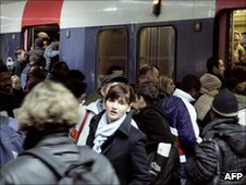 File photo (2005) Commuters on a RER train in Paris