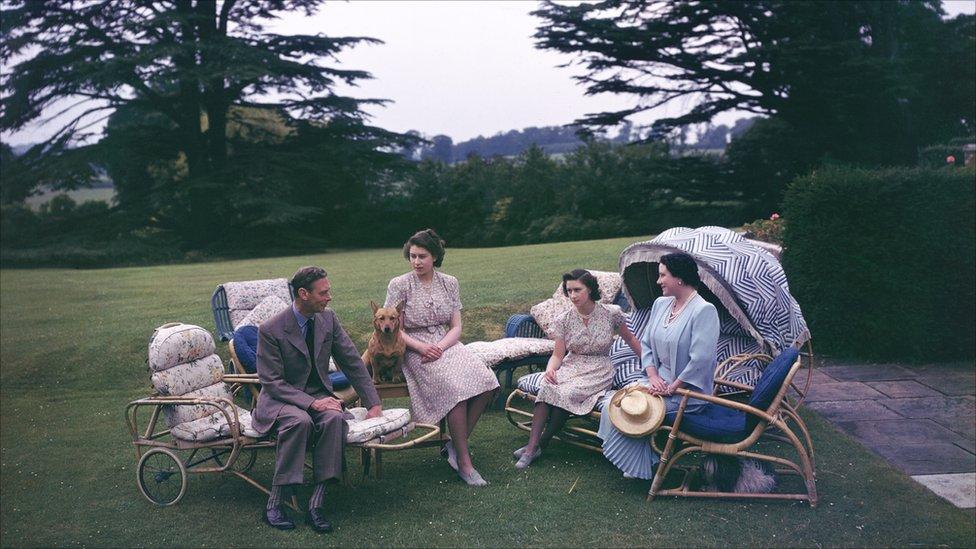 8 July 1946: King George VI and Queen Elizabeth with their daughters, Princesses Elizabeth (centre left) and Margaret in the garden of the Royal Lodge, Windsor.