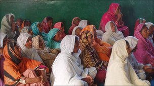 Christians at a church service in Mr Bhatti's family village of Khushk Pur in Punjab