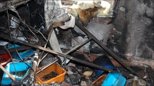 Fire damage caused by the overloaded socket