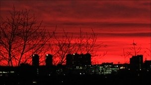 Red sky over London