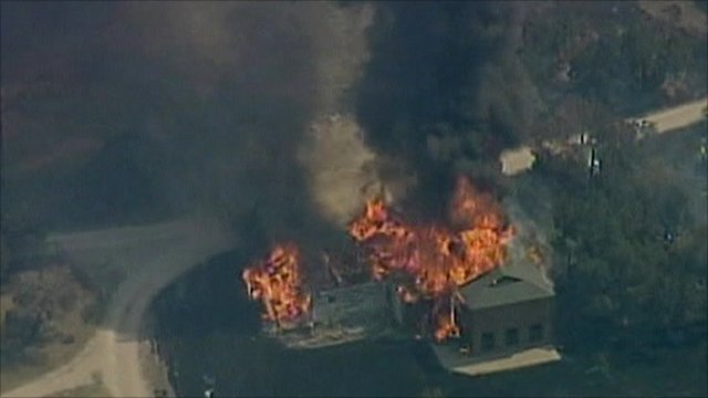 Building burning in Texas wildfire