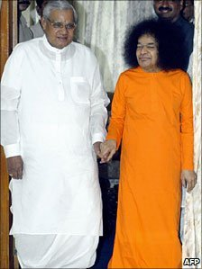 Former Indian PM Atal Behari Vajpayee with Sai Baba