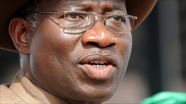 Nigerian President Goodluck Jonathan speaks at his last presidential campaign rally of the ruling Peoples Democratic Party in Abuja Saturday, March 26, 2011.