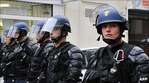 French riot police on the streets of Paris, April 2011