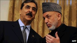 Yousuf Raza Gilani and Hamid Karzai i