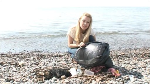 Hayley with some of the rubbish being washed up on UK beaches