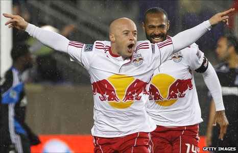 Luke Rodgers celebrates a goal for New York Red Bulls with Thierry Henry