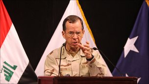 Adm Mike Mullen in Baghdad on 22 April