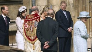 The royal family gather for their Easter service at St George's Chapel in Windsor Castle