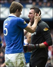 Sasa Papac congratulates Rangers goalkeeper Allan McGregor