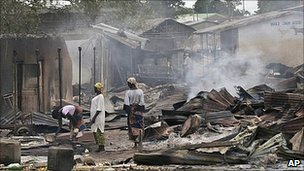 Aftermath of election violence in Zonkwa locate din the northern state of Kaduna; Photo courtesy of the AP