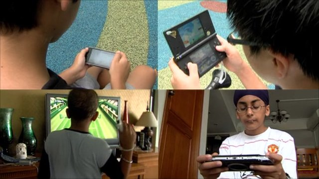 Young people play Nintendo devices