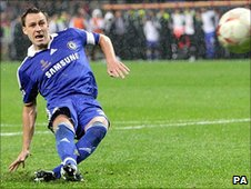 John Terry slips while taking a penalty in the 2008 Champions League final