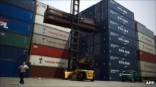 Shipping containers at port in Shanghai, China