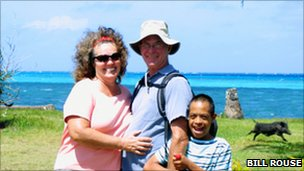 Bill and Judy Rouse in an island near Tonga